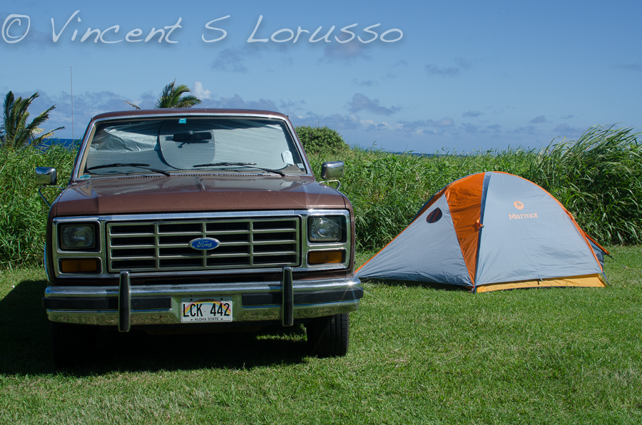 Driving my truck and pitching a tent...two of my favorite things.