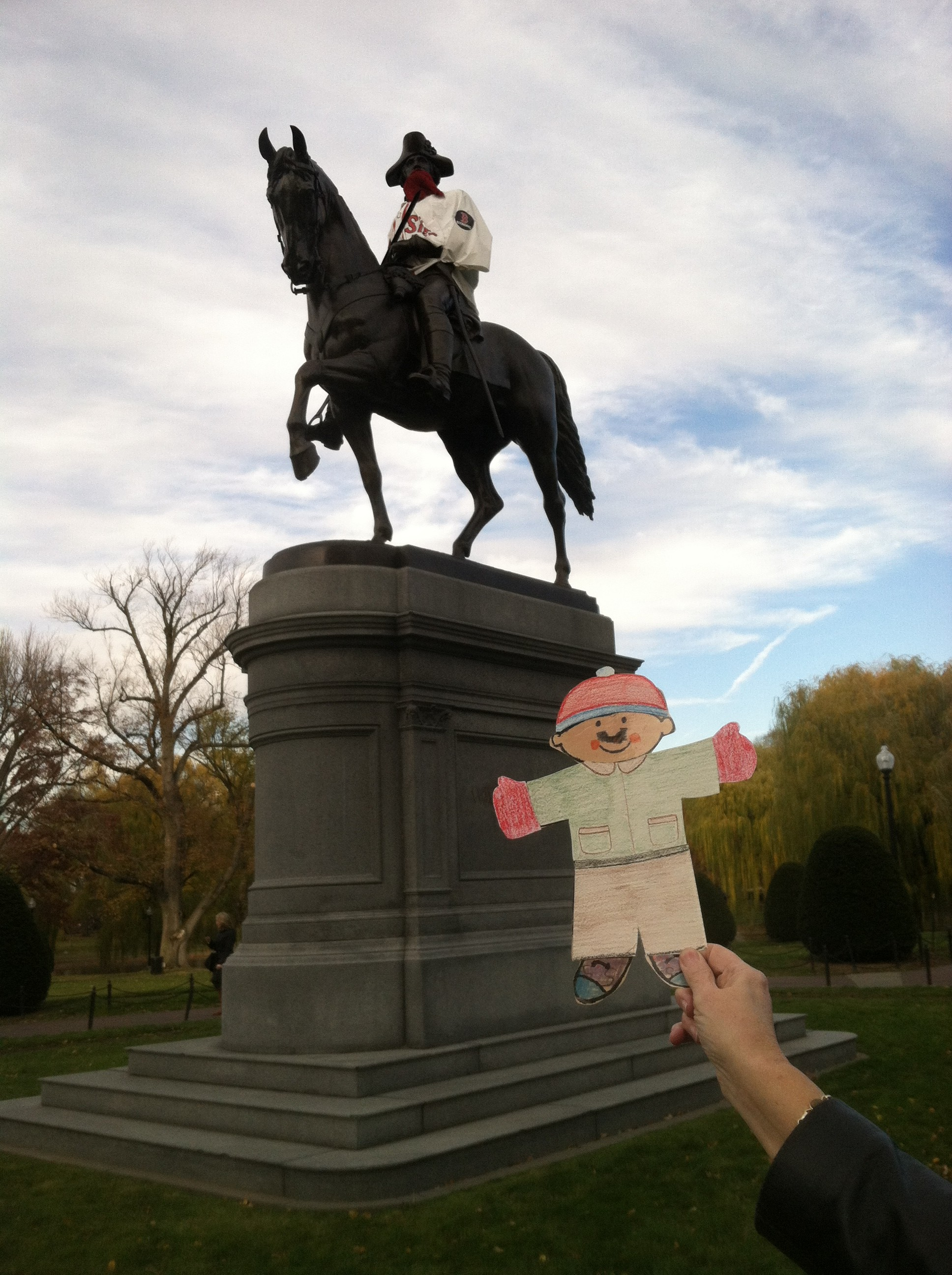 Stanley in front of George Washington's statue.  Apparently GW is a huge Boston Red Sox fan, beard and all.
