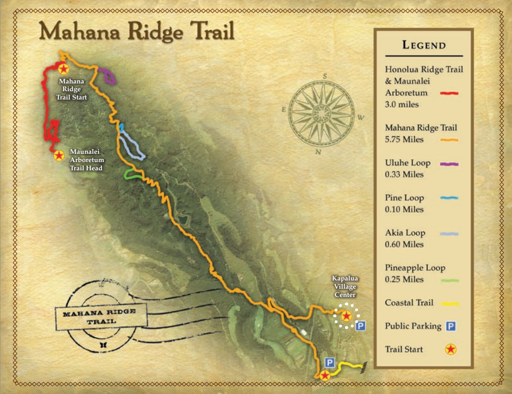 Mahana Ridge Trail map.