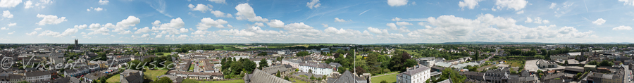 Twelve shot, 360 degree panoramic of Kilkenny, taken from atop the round tower.