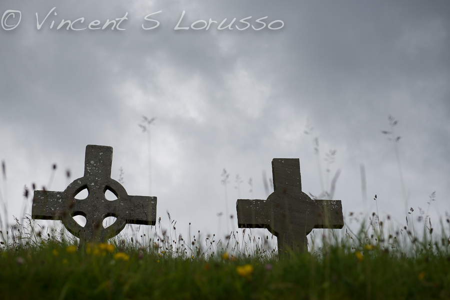 Celtic crosses dominate the graveyards.