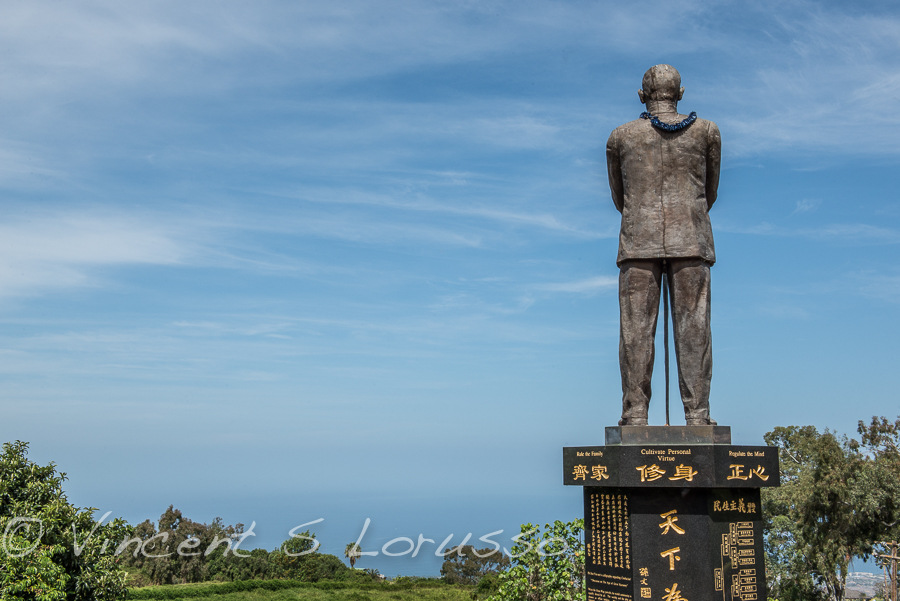 The statue of Dr. Sun Yat-sen looking west, above the pacific.