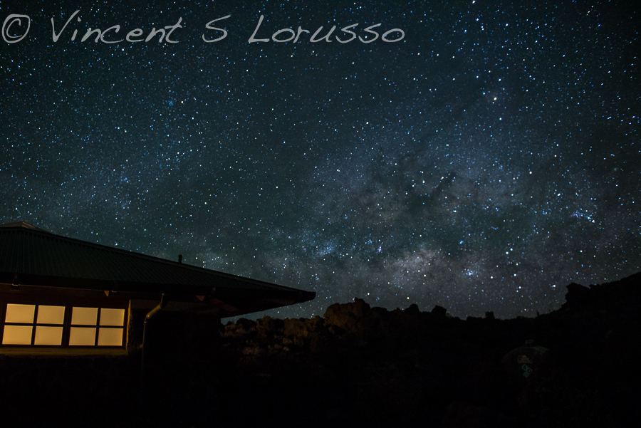 The Milky Way rising over the visitor's center in Haleakala National Park.