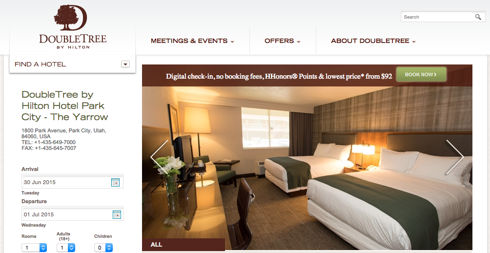 Screen shot from the Doubletree website.