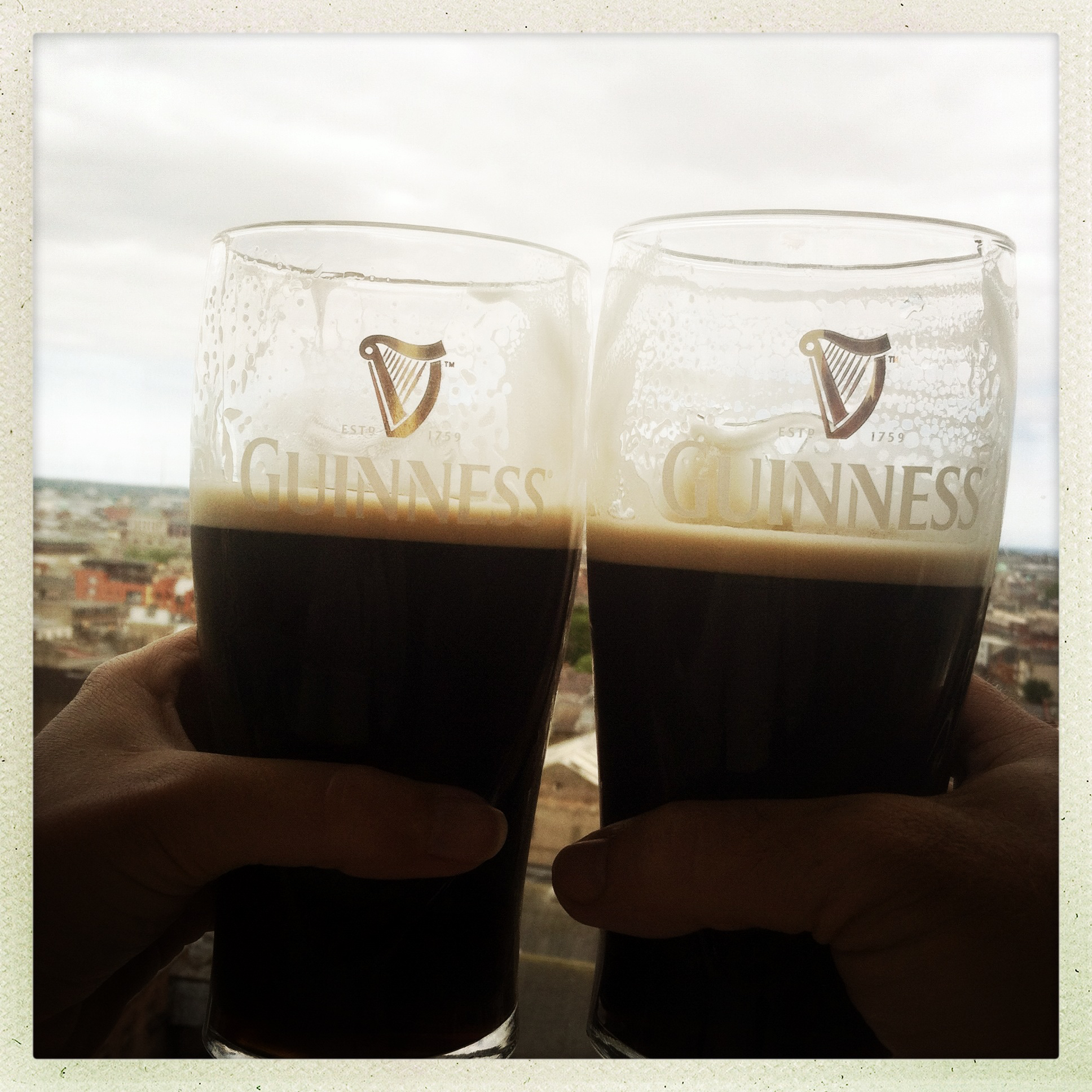 Enjoying a pint or the pure atop the Guinness Storehouse in the Gravity Bar. Photo courtesy of Emily D. Lorusso.