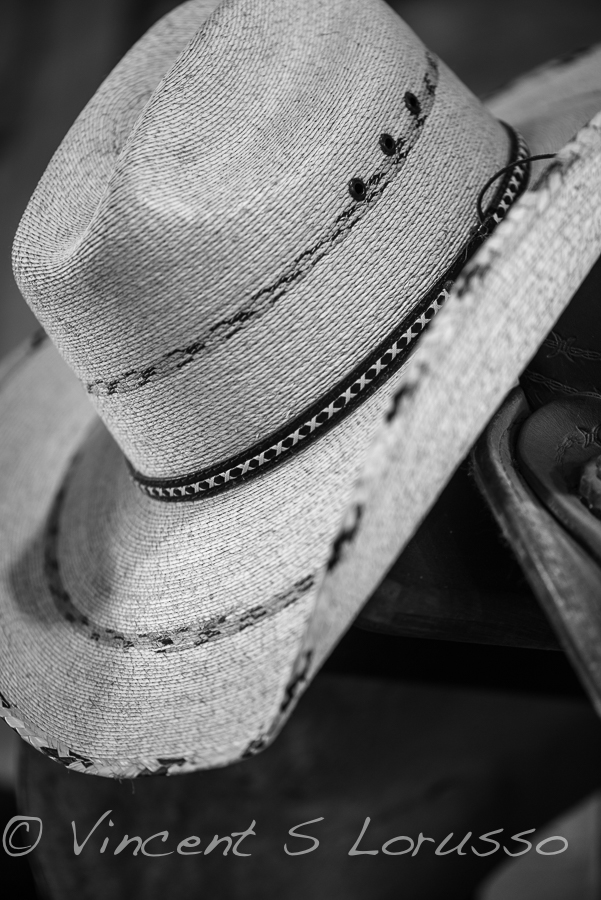 Black and white cowboy hat.